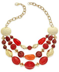 Style Necklace, Gold-Tone Red and Orange Bead Three-Row Frontal Necklace - All Fashion Jewelry - Jewelry & Watches - Macy's