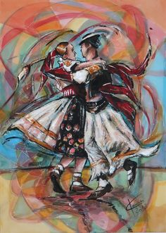 InDance (Painting), cm by Ľubomír Korenko Traditional Slovakian folk dance. Mixed media on canvas , painting is not necessary frames can be hung directly on the wall. Painting continues on sides of the frame / on the sides of the image ( screen ) . Original Art, Original Paintings, Folk Dance, Color Pencil Art, World Cultures, Mixed Media Canvas, Figurative Art, Colored Pencils, Saatchi Art