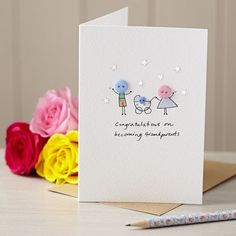 Personalised 'Button Pram' Handmade New Baby Card