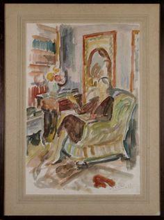 Virginia Woolf (1882-1941) at 52 Tavistock Square, London by Vanessa Bell