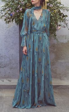 Chiffon Printed Full Length Dress by LUISA BECCARIA for Preorder on Moda Operandi