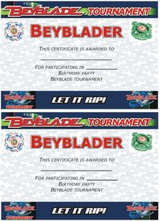 Beyblade Tournament Certificate: Participant