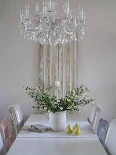 dining table white chandelier chairs