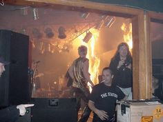 The Station nightclub fire at 40 seconds.  Feb 20 2003.  The pyrotechnics were set off by tour manager Daniel Biechele (facing the camera, on the right).  Within 5 minutes the club was engulfed.  100 people lost their lives.