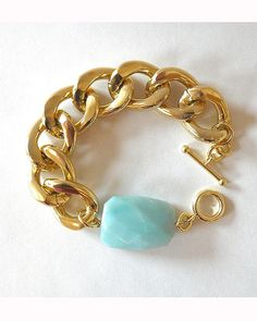The Chunky Gold Bracelet with Amazonite by JewelMint.com, $35.00