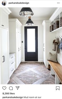 As soon as we saw this floor situation in this gorgeous mudroom! Custom floor pattern with wood and brick pavers + black mudroom door + white cabinetry + wood top bench seat with cubbies and hooks above Home Renovation, Home Remodeling, Flur Design, Mudroom Laundry Room, Interior And Exterior, Interior Design, Simple Interior, Deco Design, Design Trends