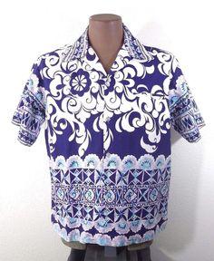 Vintage 60's 70's Men's Hawaiian Aloha Shirt Pennys Barkcloth Purple L XL