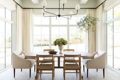 Shop Piaf Grande Chandelier, Eloise Woven Dining Chair, Aged White Urn and Woven Dining Chairs, White Dining Chairs, Dining Room Chairs, Dining Area, Dining Rooms, Dining Tables, Plywood Furniture, Home Renovation, Dining Room Windows