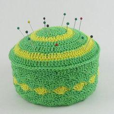 Shell Stitch Tuna Can Pincushion - A free Crochet pattern from jpfun.com.