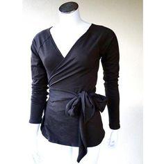black wrap around shirt