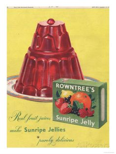 Rowntree's, Jelly, Desserts, UK Retro Recipes, Vintage Recipes, Vintage Food, Retro Food, 1950s Food, Vintage Kitchen, Vintage Prints, Vintage Posters, Art Posters