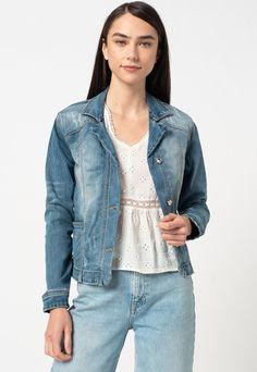 Jacheta din denim cu detalii cu aspect deteriorat FEDERICA COSTA Fashion Days, Denim, Blue, Shopping, Products, Casual, Gadget, Jeans