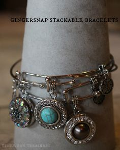 NEW Gingersnap bracelet for Summer/Fall 2014 - The expandable stackable bangle bracelet - Wear one or stack a few - Add them to your stackable bracelet collection! These have been very popular! Mom Jewelry, I Love Jewelry, Beaded Jewelry, Jewelery, Handmade Jewelry, Pandora Jewelry, Stackable Bracelets, Bangle Bracelets, Bangles