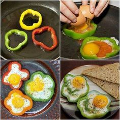 1.Slice a pepper as shown.  2.Crack in an egg (the pepper holds in the egg). 3.Add in extra spices or herbs. 4.Cook to desired time
