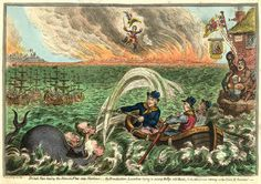 British Tars, towing the Danish Fleet into Harbour; the Broadbottom Leviathan trying to swamp Billy's old-Boat, & the little Corsican tottering on the Clouds of Ambition. Caricature by James Gillray, 1807. George Canning, roguish and alert, sits and tows. Napoleon dances over the flames in a thwarted rage.