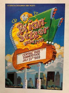 Original concert poster for The Brian Setzer Orchestra at at Summerstage in Central Park in NYC, NY in 1999. . 13