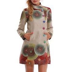 Desigual 44 UK 16 Abrig Colorful Circles Coat Luxury Tapestry Effect Beige Colourful Outfits, Colorful Fashion, Classy Outfits, Pretty Outfits, Mode Batik, Couture Coats, Batik Fashion, Fashion Corner, Mantel