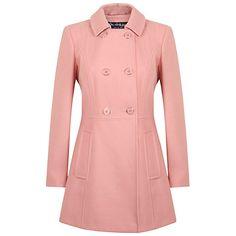 Buy Miss Selfridge Double Breasted Coat, Pink Online at johnlewis.com