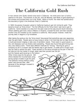 California Gold Rush: Sutter's Mill   Gold rush, Worksheets and ...