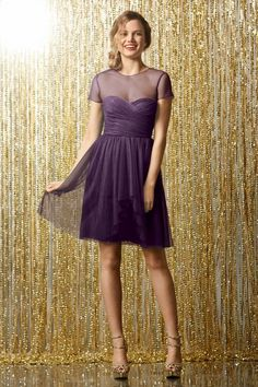 Wtoo Maids Dress 502   Watters.com in Plum. Colour is too purple but what cute capped sleeves