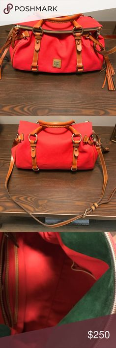 Dooney & Bourke Handbag Dooney & Bourke Handbag - red canvas with saddle brown leather trim - EUC Dooney & Bourke Bags
