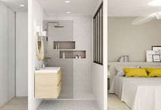 Un bain de lumière, aménagement, rénovation, appartement, lyon, villeurbanne, architecture d'intérieur, décoration, agence LANOE Marion, agencement Small Space Living, Small Spaces, Ideas Hogar, Master Room, Small Apartments, Home Bedroom, Sweet Home, New Homes, House Design
