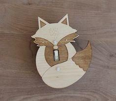 Wood Laser Cut Fox Light Switch Plate (single switch)