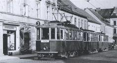 Die Linie 3 in der Rösselmühlgasse Richtung Gösting (1957 eingestellt), Graz, 1954 Vintage Travel, Austria, Street View, History, Image, Building Information Modeling, Graz, Old Pictures, Line