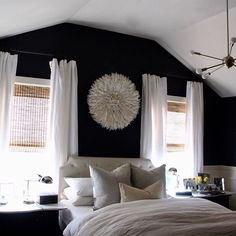 How many of you like dark walls in a bedroom? Color is Graphite by Benjamin Moore -- option for bedroom? Home Bedroom, Bedroom Decor, Dark Master Bedroom, Dark Bedroom Walls, Bedroom Inspo, Bedroom Ideas, Accent Wall Bedroom, Dark Walls, Suites