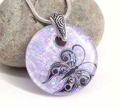 Mauve Butterfly Pendant - Dichroic Glass Necklace - Fused Glass Jewelry by TremoughGlass on Etsy