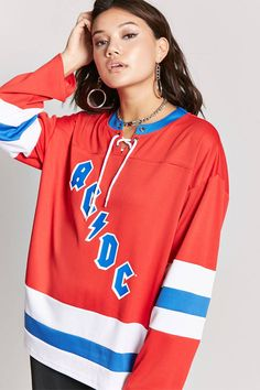 Product Name:ACDC Graphic Hockey Jersey, Category:top_blouses, Price:24.9