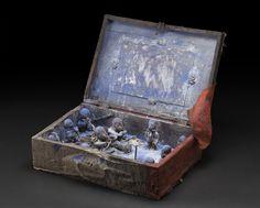 Africa    Portable Vodun Altar - Fon people - Benin  , Mid. 20th C. Wood, clay, metal, pigment, shells, mirror 19.5 x 14 x 6.5 inches 49.5 x 35.6 x 16.5 cm Af 354