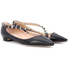 c8092e60370 Valentino Valentino Garavani Rockstud Leather Ballerinas (€785) ❤ liked on Polyvore  featuring shoes