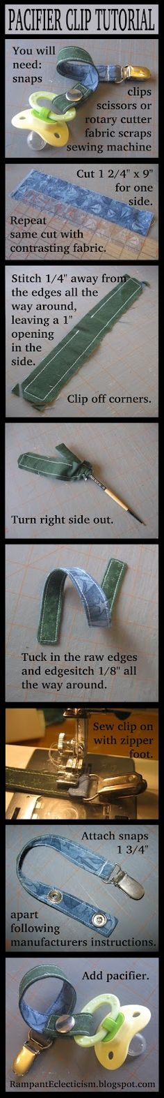 fabric pacifier clip tutorial