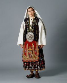 Sarakatsans costume of the Goura region in Peloponnese, Corinthia. Greek Traditional Dress, Traditional Outfits, Folk Clothing, Greek Clothing, Historical Costume, Historical Clothing, Folk Costume, Costumes, Ethnic Fashion