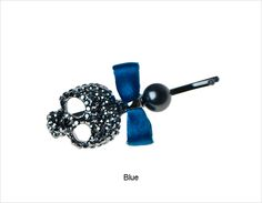 It's sparkles, it's a skull, it's pretty and it's a new twist to your bobby pin essentials - Skull and Bow Crystal Bobby Pin in blue #janetran #skulls #bobbypin