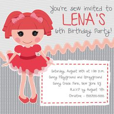 La La Loopsy Customizable Birthday Invitation by FolkFoxDesigns