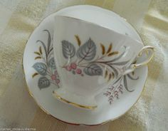 ROYAL STANDARD BLUE PINK GOLD FANCY English Teacup Tea Cup and Saucer ENGLAND