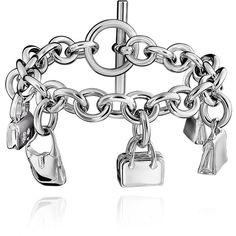 Hermès Charm Bracelet Silver Bracelet (132,250 PHP) ❤ liked on Polyvore featuring jewelry, bracelets, silver bangles, charm bangles, silver jewellery, silver charms and charm jewelry