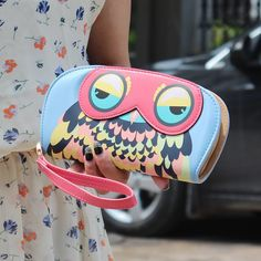 22.20$  Buy now - http://vihuw.justgood.pw/vig/item.php?t=hjsefvb38469 - OwlWallet PU Leather Patchwork Printing Long Wallets Cute Animal Prints Zipper C 22.20$
