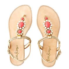 Lilly Pulitzer Sole Seaurchin Sandal ($178) ❤ liked on Polyvore featuring shoes, sandals, gold metallic, leather shoes, flat shoes, pink flat shoes, pink shoes and genuine leather shoes