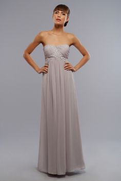 Strapless chiffon dress with empire