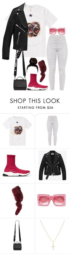 """🐒🐒"" by miniurbanprincess ❤ liked on Polyvore featuring Givenchy, Balenciaga, Yves Saint Laurent, Charlotte Simone, Gucci, Sydney Evan and Mark Broumand"