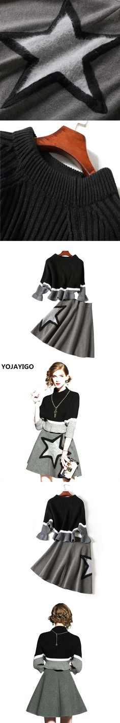 YOJAYIGO New style 2017 Autumn Fashion Women Dress Sets,three Quarter Sleeve Casual Sweater +Sexy Cloth Overskirt 2 Piece Suits