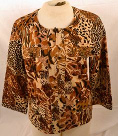 Westbound Ladie's Size Medium 100% Cotton Safari Print 3/4 Sleeve Blouse #Westbound #Blouse #CareerorEveningDinner