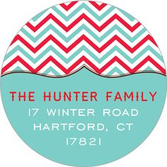 Blue and Red Chevron Round Address Labels