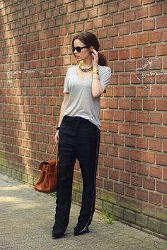 Lanvin Necklace, Girlfriends Material Tee, Nowhere Zipper Trousers, Mulberry Bayswater Bag