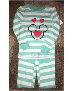 Custom Embroidered Valentine's Girl PJ's $20 shipped A name can be added for additional charge  #minnie #valentines #happyvalentinesday #pjs #pajamas #embroidered #custommade #minniemouse #hearts #cynthiascraftsinvirginia #yesbbb