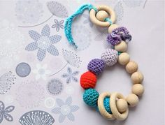 Nihama Crochet Teething Toy ~ Green/Red/Purple With Flower