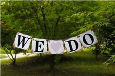 """WE DO"" Rustic Country Banner Bunting - Heart 1.3m"